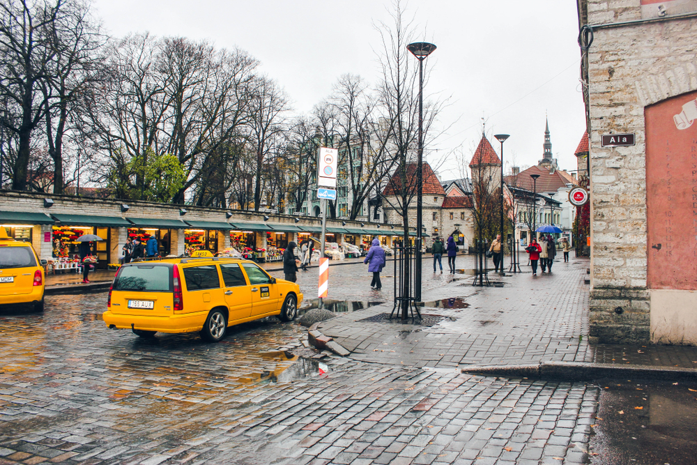 Taxis on the streets of Tallinn.
