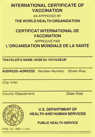 Immunization Certificate from the US Centers for Disease Control