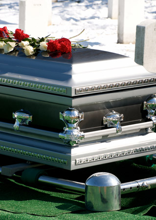 Coffin at a funeral