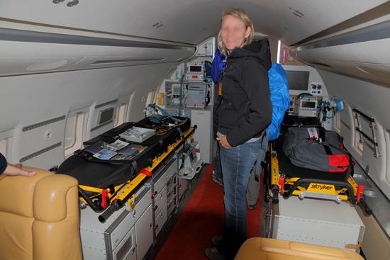 Inside a med-evac jet