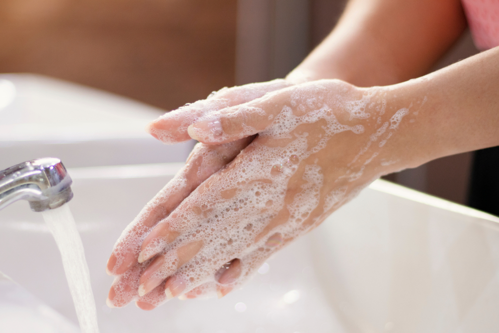 Hand washing wth soap removes germs.