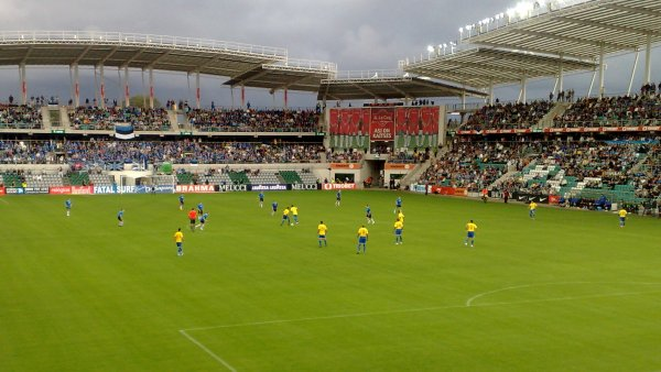 View of the A. Le Coq Arena in Tallinn, home of the Estonian soccer team and FC Flora