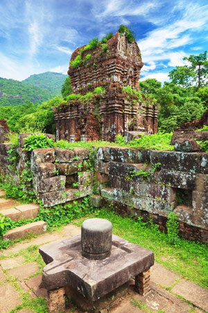 My Son Sanctuary religious complex reveals Cham architecture with Hindu and Buddhist influences.