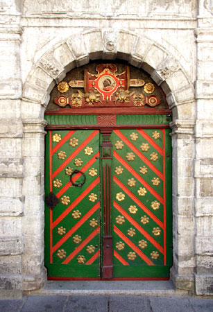 An ornate door is pictured in Tallinn.