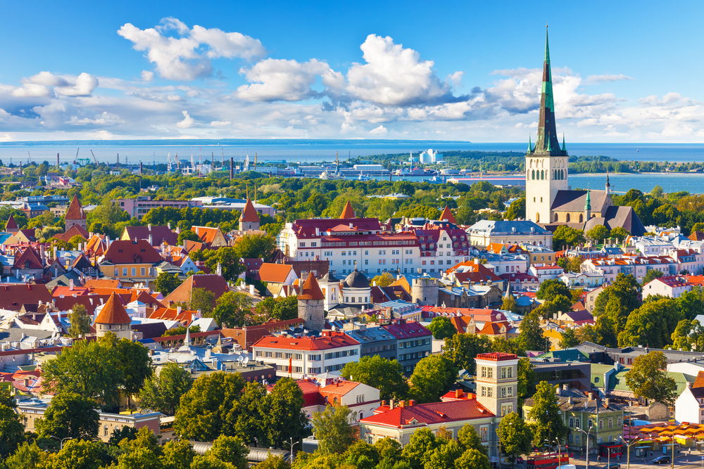 Old Town in Tallinn, northern Estonia. The population is fairly evenly distributed, with urban areas drawing larger and denser populations.