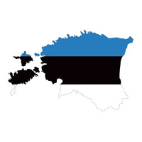 Flag of Estonia in Country Shape #1