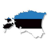 Flag of Estonia in Country Shape #2