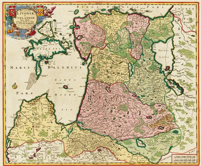 1705 Map of Ducatuum Livoniae et Curlandiae Nova Tabula