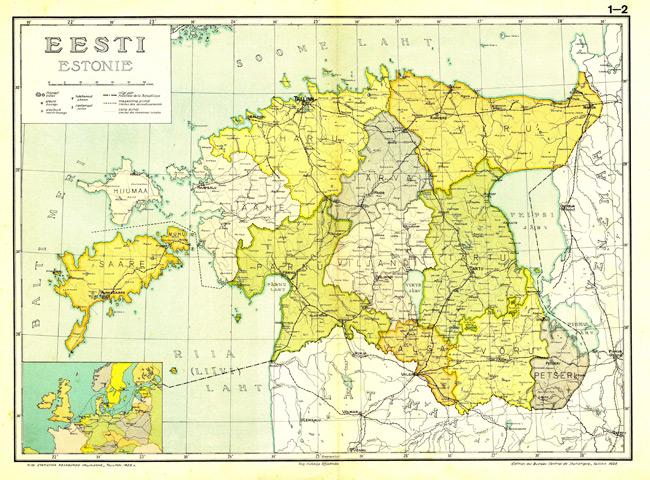 1925 Map of Eesti Haldusjaotus