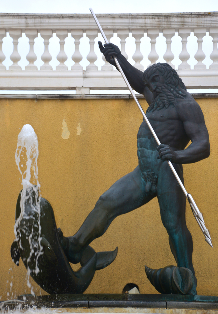A statue of Poseidon, outside the Estonian Parliament building