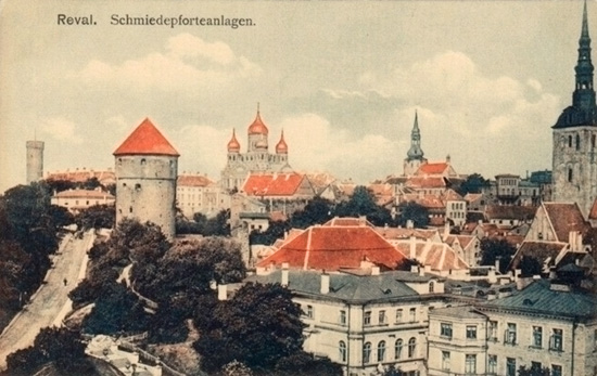 View of castle, churches, and city