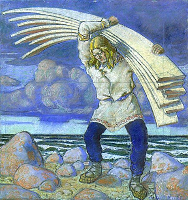 Oskar Kallis' illustration for Kalevipoeg, considered Estonia's national epic.