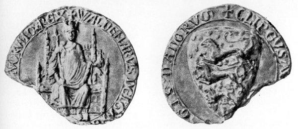 The seal of Danish King Valdemar II, who conquers teh Estonian territories in 1206.