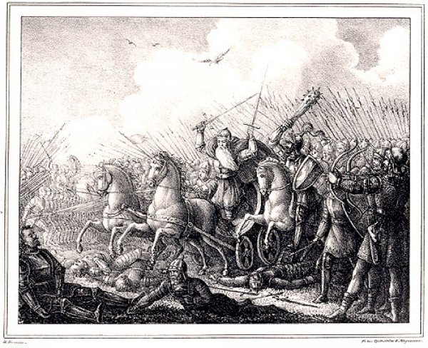 An early 19th century etching portrays the Battle of Bavalla, in which Estonian soldiers fight alongside Swedes.