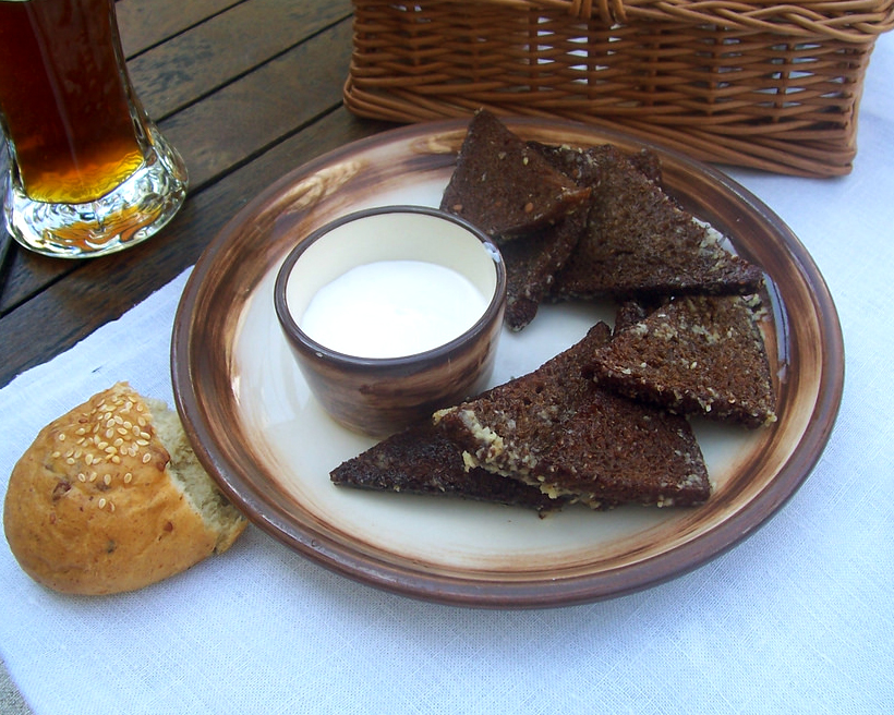 The most typical snack is a thick slice of black bread with butter.