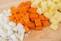 Onions, carrots, and potatoes