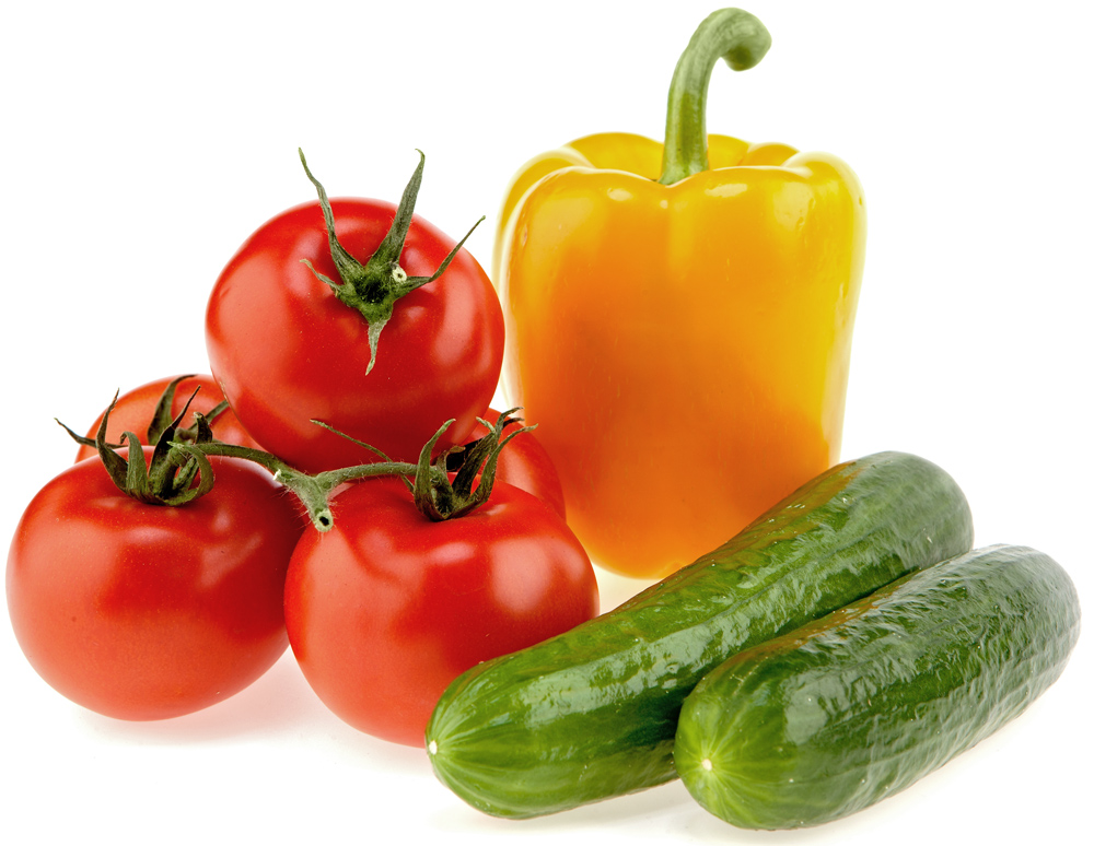 Pepper, tomato, and cucumbers