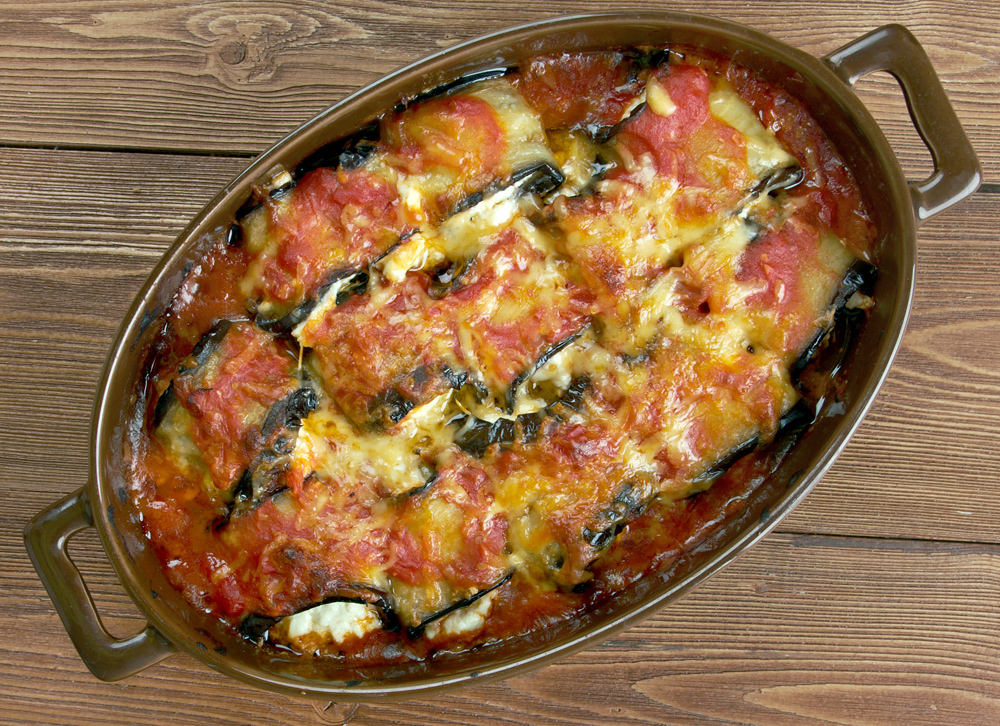 Stuffed eggplant, with cheese added on top
