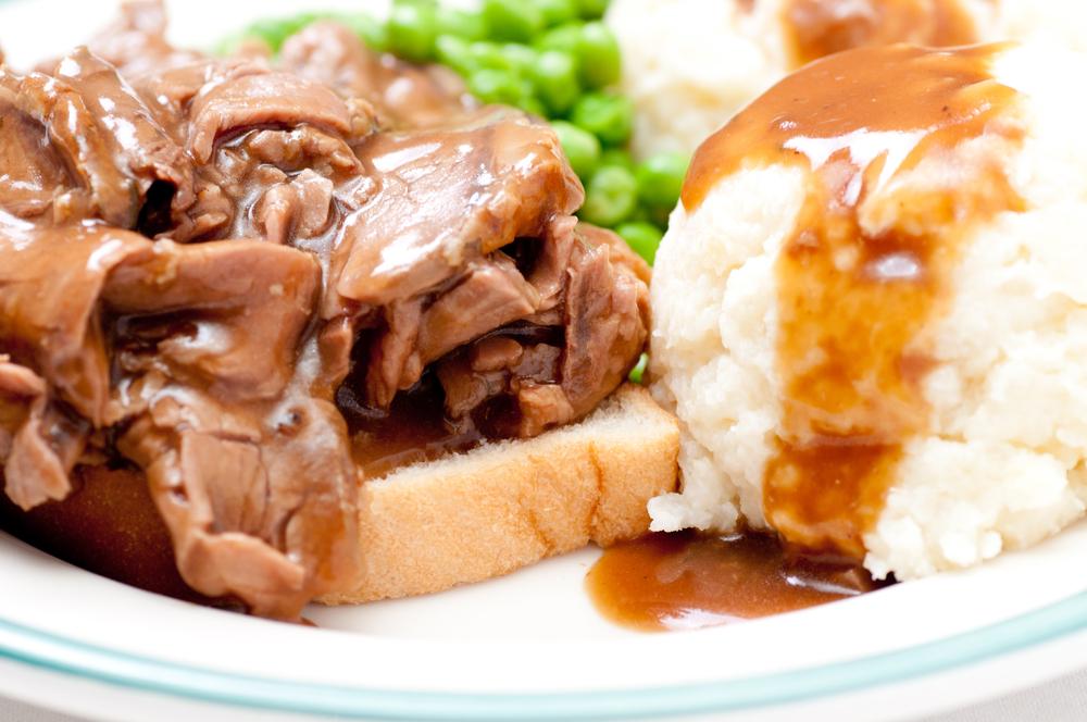 Hot Beef Sandwich, Shown Open-Faced