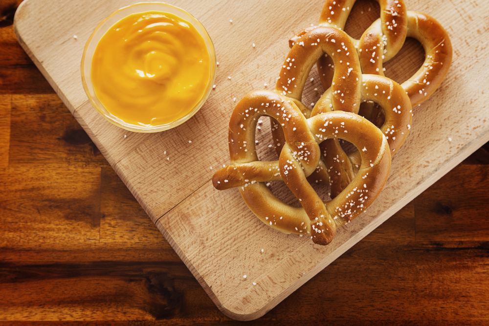 Soft Pretzels with cheese dipping sauce.