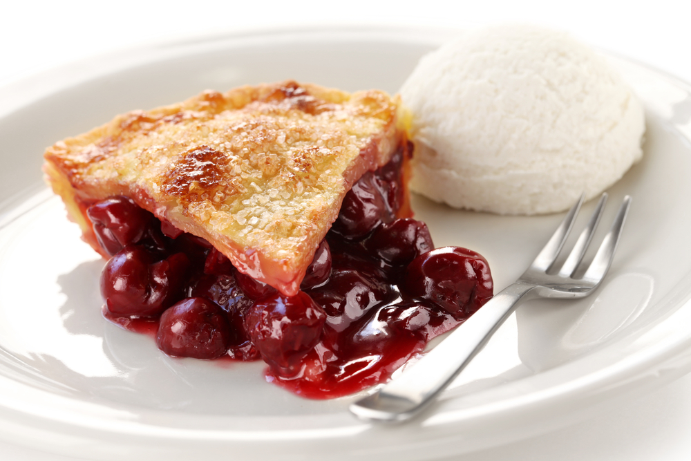 A Slice of Cherry Pie with Ice Cream on the Side