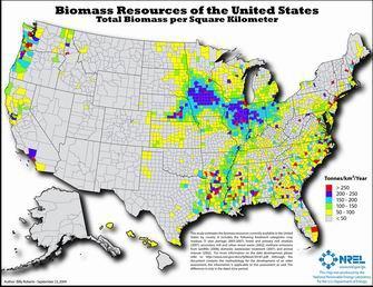 Map of total U.S. biomass resources per sq. km.