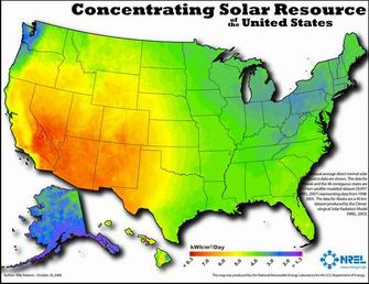 Thumbnail image of the concentrating solar power (CSP) resource potential in the United States map.