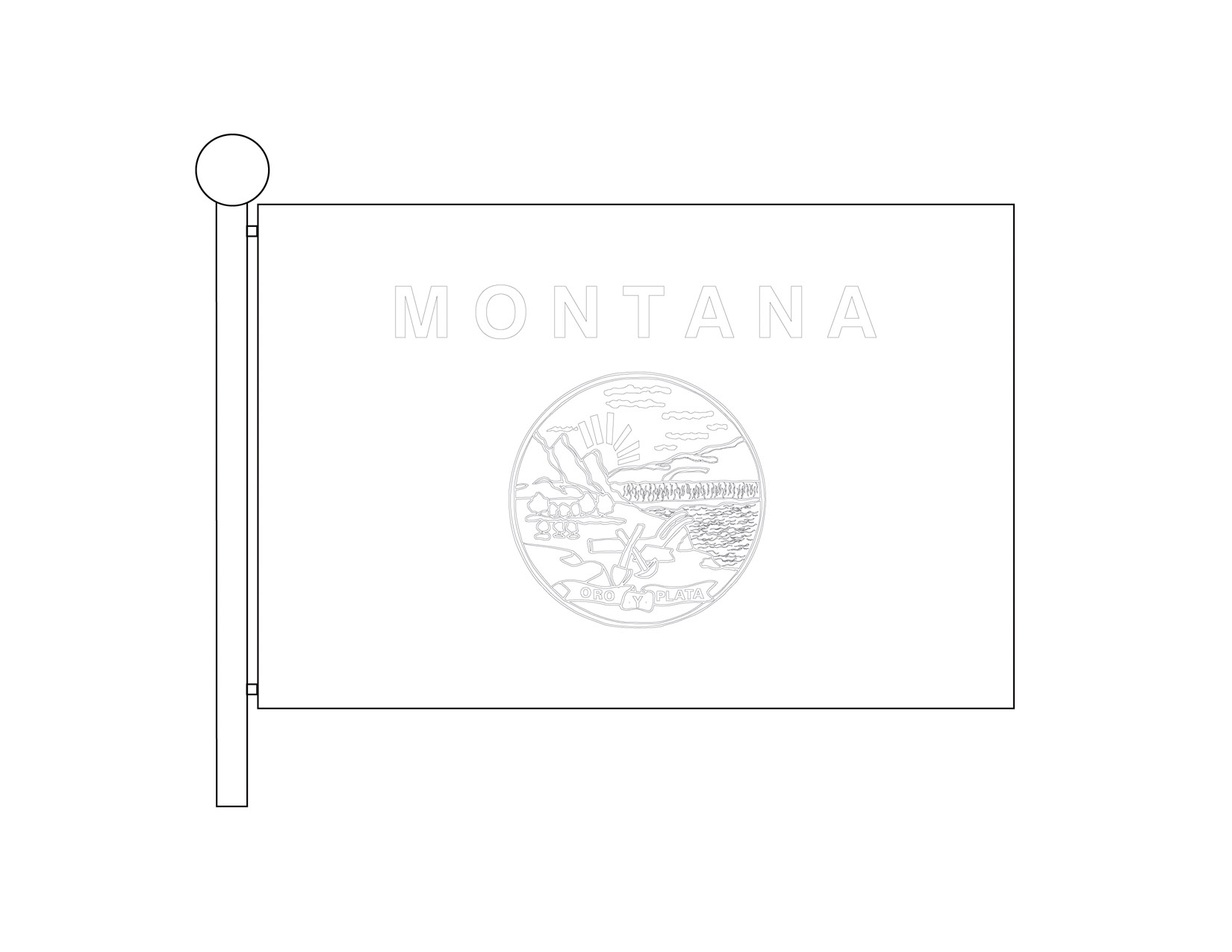 Outline Flag of Montana on Flagpole
