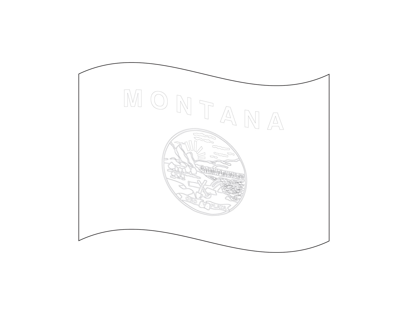 Waving Outline Flag of Montana