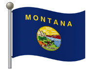 Waving Outline Flag of Montana on Flagpole