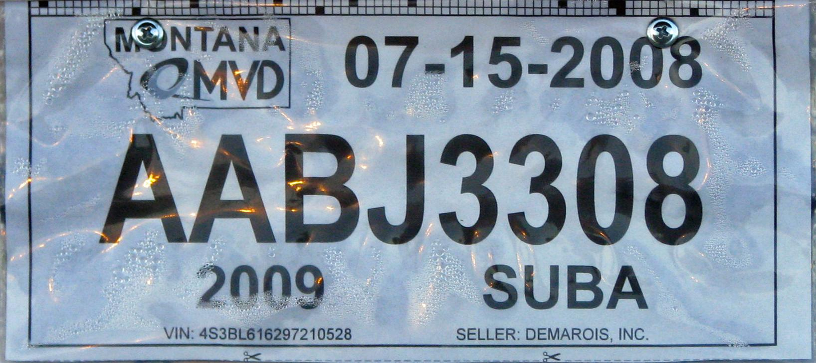 License Plate 9751