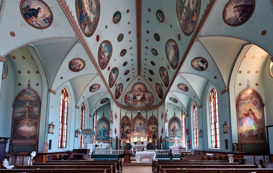The interior art was created by a Jesuit Brother with no professional art training.