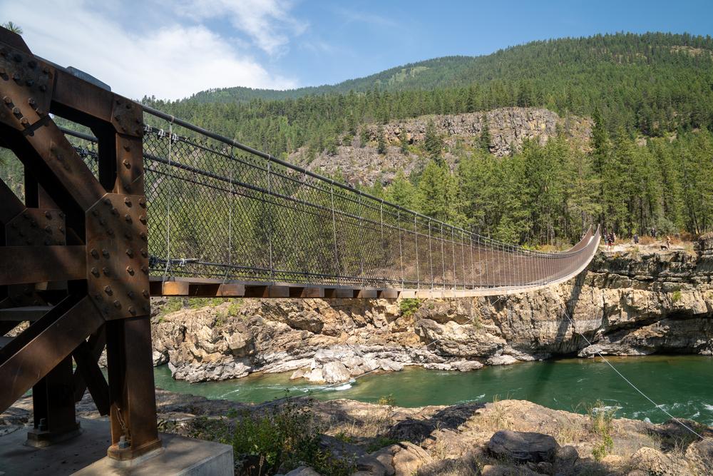 Kootenai Falls offers a swinging bridge over the Kootenai River.