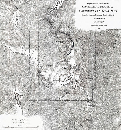 1872: Survey map of Yellowstone National Park