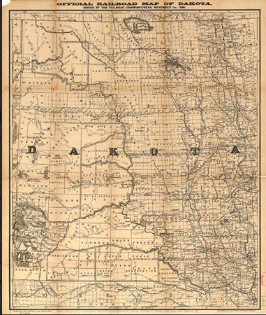 1861: Railroad map of Dakota Territory
