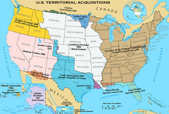1818: U.S. territorial acquisition overview map